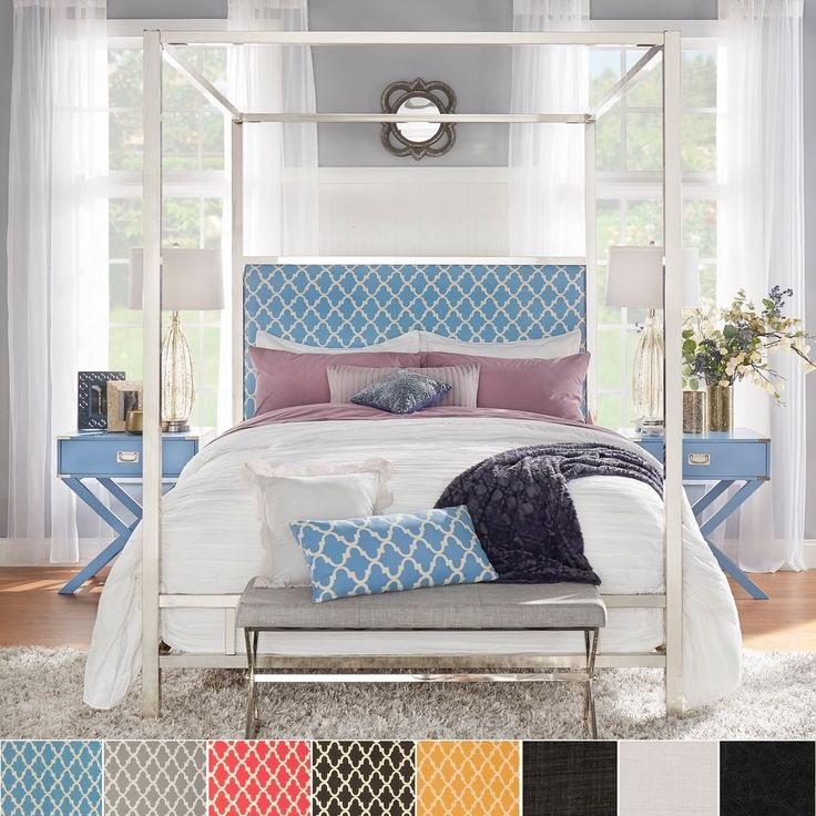 Solivita Full-size Canopy Chrome Metal Poster Bed by INSPIRE Q