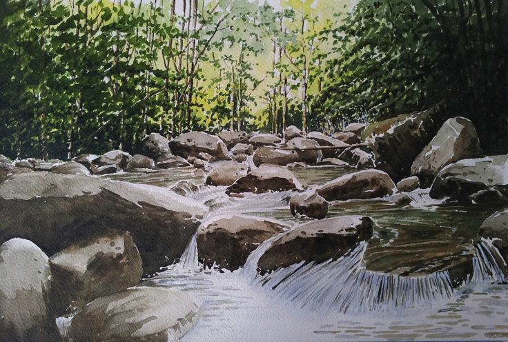 "Mountain Stream-3 18"" X 12"" SOLD"