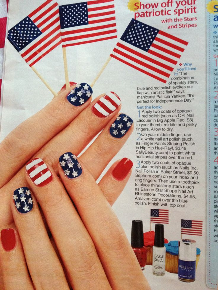 Fourth of July fingernails. Why wait until the 4th of July. Show your support for America now.