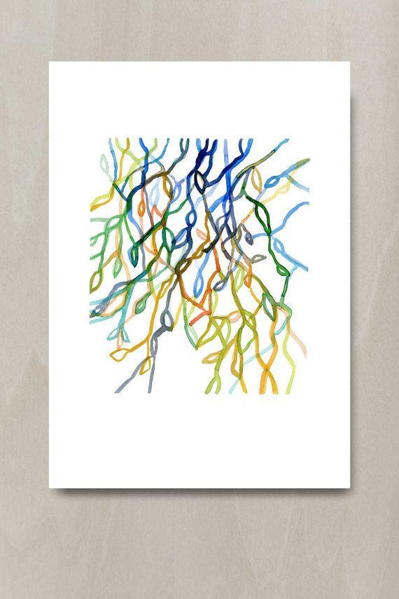 Acuarela arte de pared colorido abstracta acuarela grabada