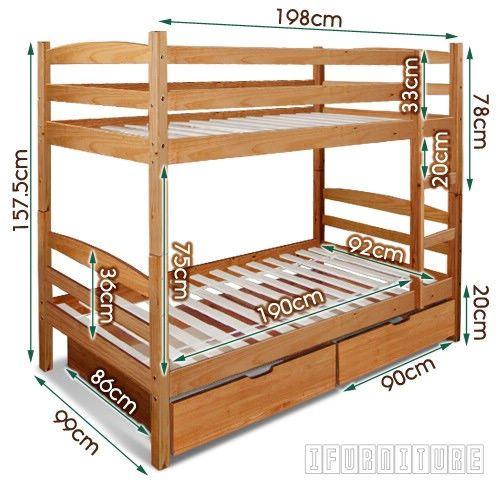 Starlet Bunk Bed With Storage Warm Honey Color Bedroom