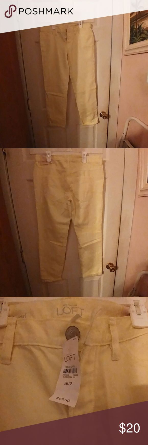 Anne Taylor LOFT Boyfriend yellow Button Fly Jeans Ann Taylor Loft Boyfriend yellow jeans womens 26/2 pale yellow button Up Fly brand New with Tags Ann Taylor Jeans Boyfriend