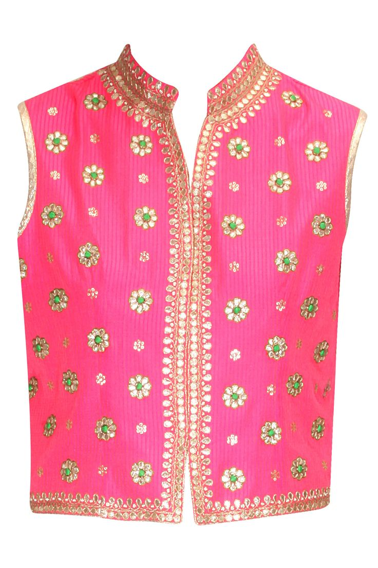 Pink gota patti traditional jacket available only at Pernia's Pop-Up Shop.