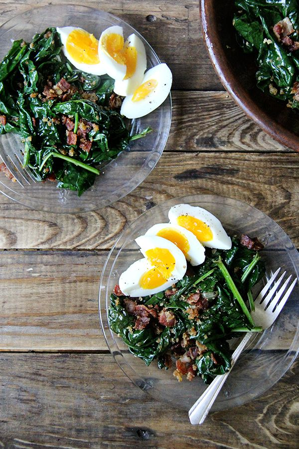 Alice Waters Warm Spinach Salad with bacon and breadcrumbs