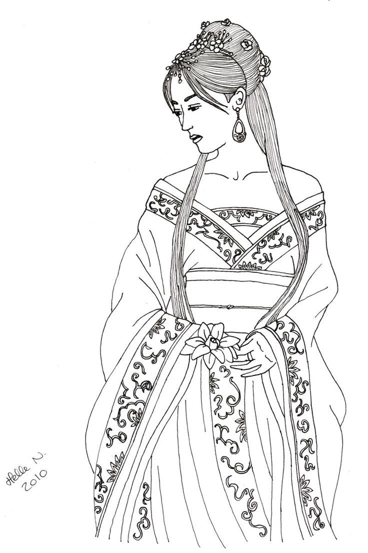 Irish princess coloring pages - Chinese Girl By Hellenielsen82 Deviantart Com On Deviantart
