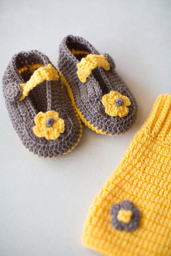 Crochet Baby Set, 3 Pcs Set , Crochet Baby Skirt, Crochet Handband , Crochet Loafers