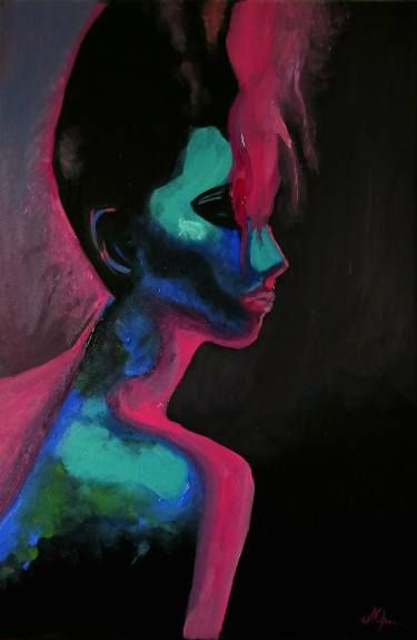 "Saatchi Art Artist Andreea Oprisan; Painting, ""Electric"" #art #painting #portrait #electric"