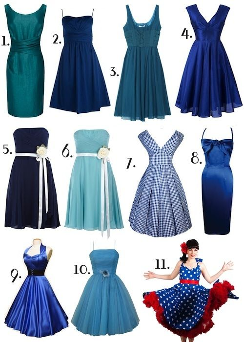 Surprisingly, I like #7 in gingham.   I'm sure you've been to that site, right?  Since it's called fifties wedding dot com.    blue 50s style bridesmaid dresses