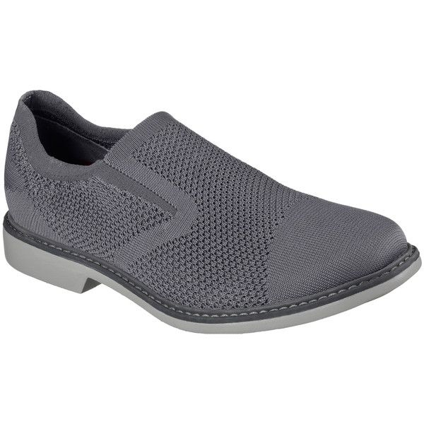 Skechers Men's Monza Gray - Skechers ($90) ❤ liked on Polyvore featuring men's fashion, men's shoes, grey, mens woven leather slip-on shoes, mens gray dress shoes, mens woven shoes, mens woven loafers and mens slip on loafers