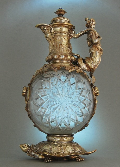 """""""Tortoise Jug"""" Germany c.1880 from karaffensammler.at  check out the mermaid handle"""