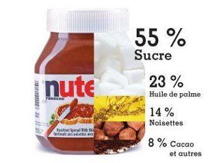 Le Nutella, c'est immonde: 55% sucre 23% huile de palme 14% noisettes 8% cacao etc  Huile de palme responsable de la destruction de la forêt vierge et de l'habitat naturel des orangutans...