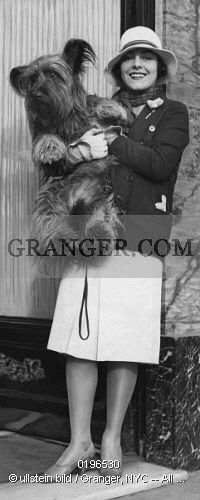 This is a Granger licensable image titled 'GABY MORLAY.  Morlay, Gaby - Actress, France *08.06.1893-04.07.1964+ - with her dog (Skye Terrier) - Published by: 'Dame' 18 / 1929 - Photographer: Studio Riviera Vintage property of ullstein bild 01021218.' by Granger, NYC All rights reserved. You may not copy, publish, or use this image except for sample layout ('comp') use only. You must purchase the image from Granger in order to use it for ANY other purpose.