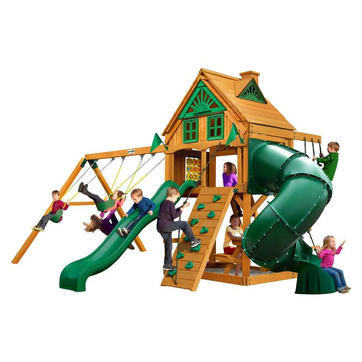 Gorilla Playsets Mountaineer Treehouse Swing Set with Fort Add-On & Amber,