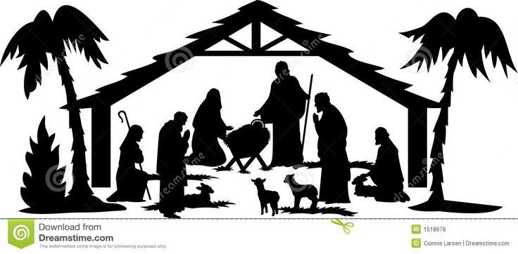 christmas nativity clipart black and white free - photo #40