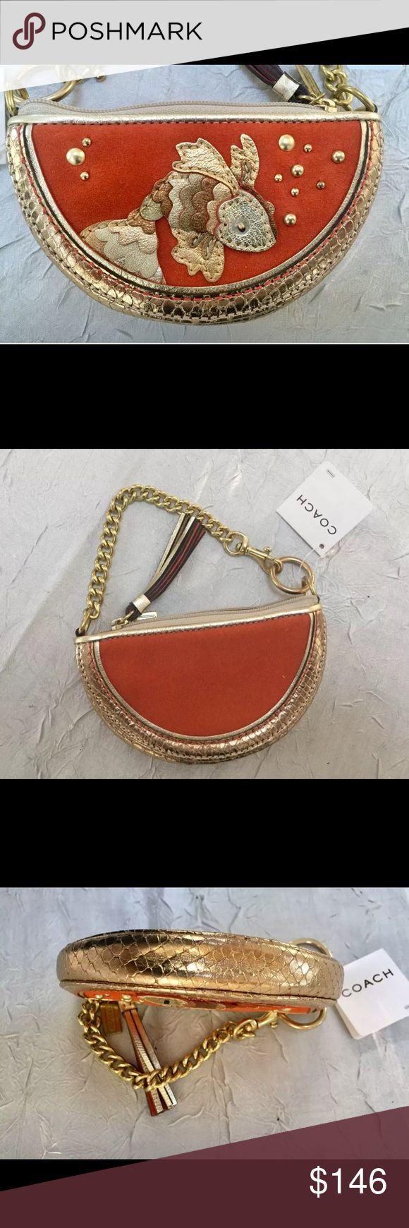NWT COACH *RARE* Koi Fish 🐠 Coin Purse Wristlet! COACH COLLECTORS! Brand NEW, *RARE*, Koi Fish Coin Purse/Wristlet w/ attached tags & dust cover. This is the ONLY ONE online! Made from Suede Orange/Gold Python-embossed Leather with polished brass hardware. It is beautifully crafted with gold leather scales. Zip top closure w/ leather tassel zipper pull & keychain. The lining is orange fabric. A MUST HAVE for all COLLECTORS! Never used. Non-smoking home. PRICE FIRM on this item. Coach Bags…