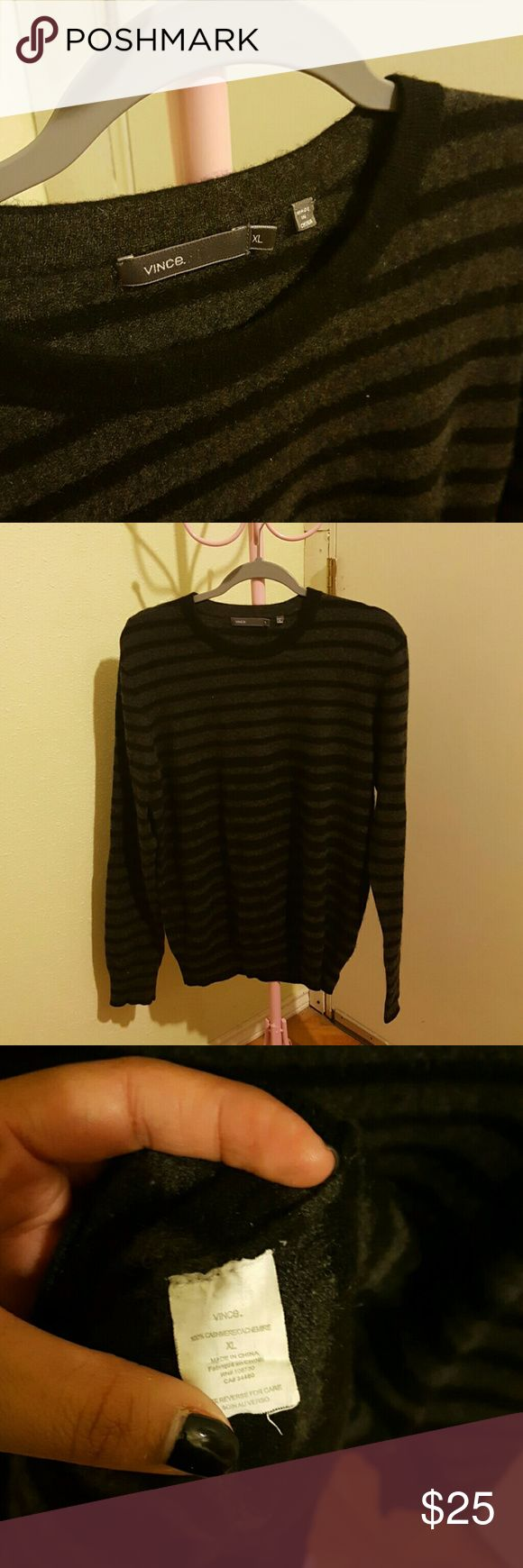 Mens Cashmere Sweater Black and gray stripped sweater. 100% cashmere. Vince Sweaters Crewneck