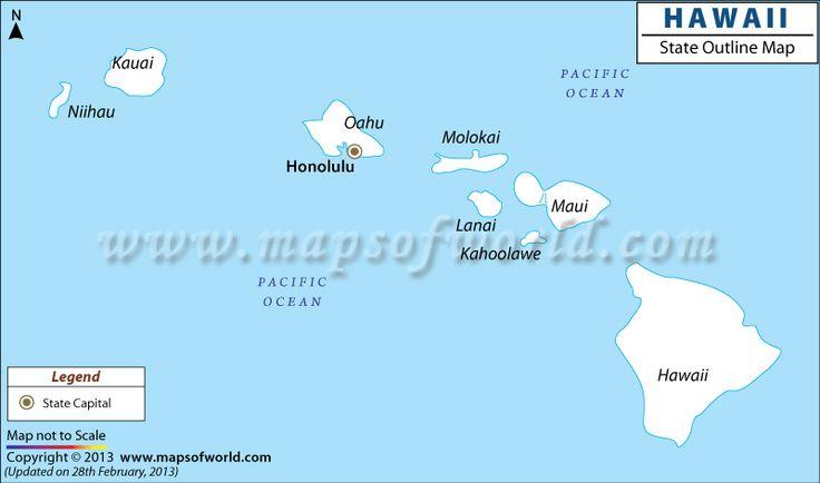 Hawaii Outline Map Pinterest