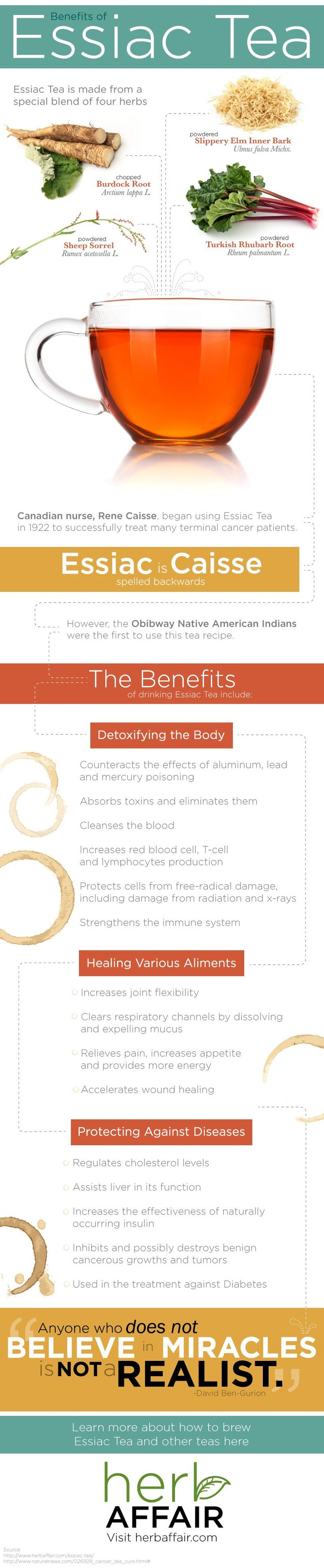 The Benefits of Essiac Tea (Infographic) Learn the many benefits of drinking this herbal tea by reading the infographic.