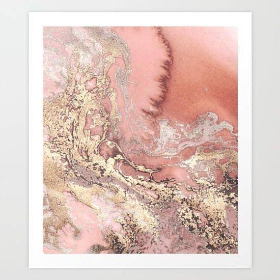 Marble Swirl Gold Pink Rose Rosegold Elegant