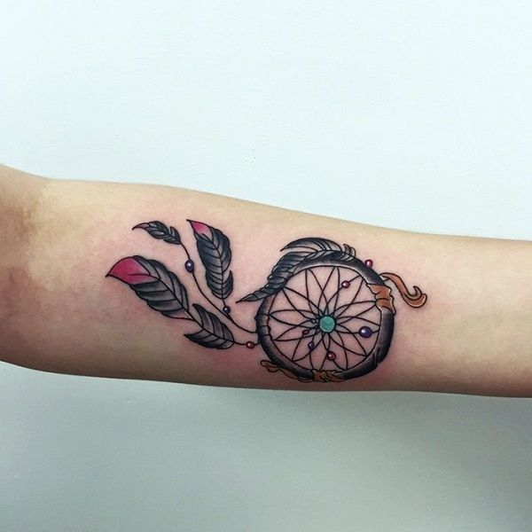A Simple Dreamcatcher Tattoo for Inner arm. For those looking for something simple yet functional, this is worth noticing.