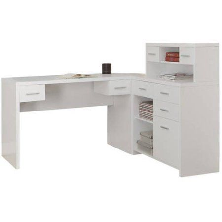 Monarch Hollow Core L Shaped Home Office Desk with Hutch in White