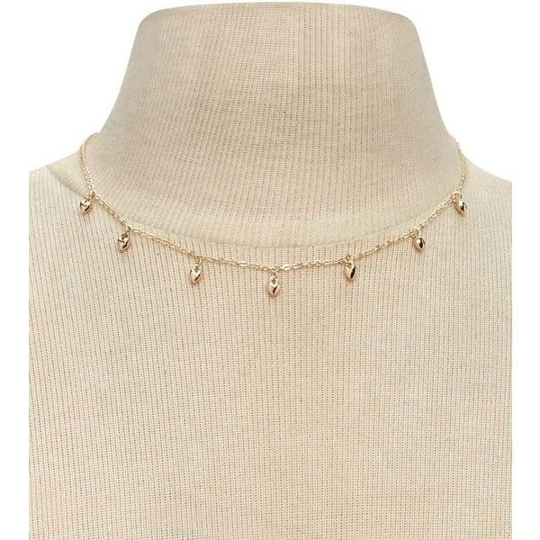 Forever21 Heart Charm Choker ($3.90) ❤ liked on Polyvore featuring jewelry, necklaces, gold, heart necklace, gold charms, heart charm, gold chain choker and gold necklace