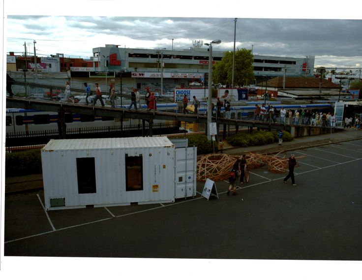 Paul Irving 2005 Compartment Bloc artist in Residence Location Footscray Train Station Project Design, construction  and instigation.   Shipping container residence and woven slat sculptures.  Photo courtesy Ceri Hann