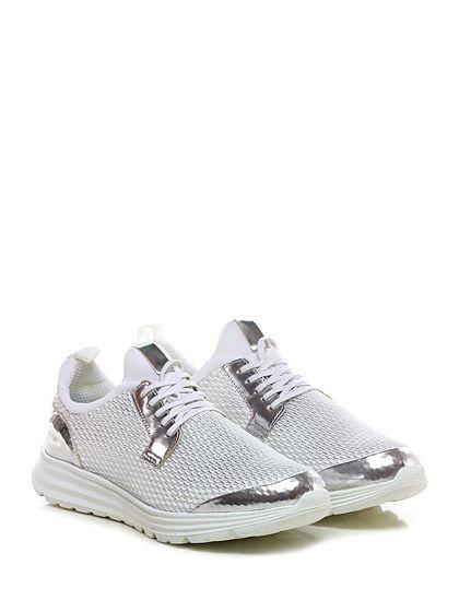 Be Positive - Sneakers - Uomo - Sneaker in eco pelle, tessuto a retina laminata e tessuto elasticizzato con suola in gomma. Tacco 50, platform 30 con battuta 20. - WHITE\SILVER - € 175.00