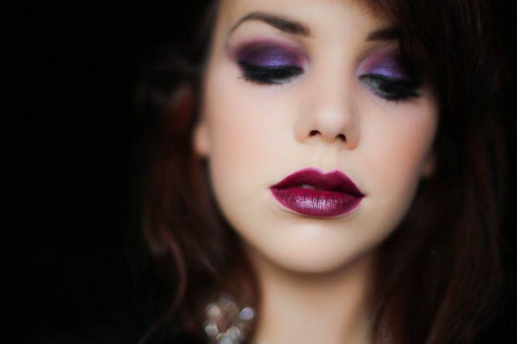 violet lids and MAC Rebel lipstick