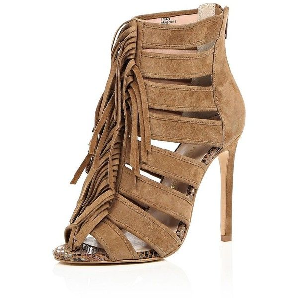 River Island Brown suede tassel heels ($150) ❤ liked on Polyvore featuring shoes, pumps, heels, brown, lace up / caged shoes, shoes / boots, women, brown pumps, heels & pumps and suede pumps
