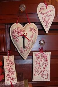 Key to My Heart RedWork design. This would  be cute for Valentine's day. But I can see it for a wedding or anniversary too. $9.50