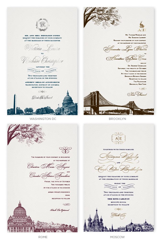 Wedding Invitations with skylines of Washington DC, Brooklyn, Rome and Moscow