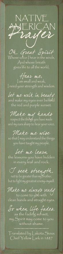 Native American Indian Prayer