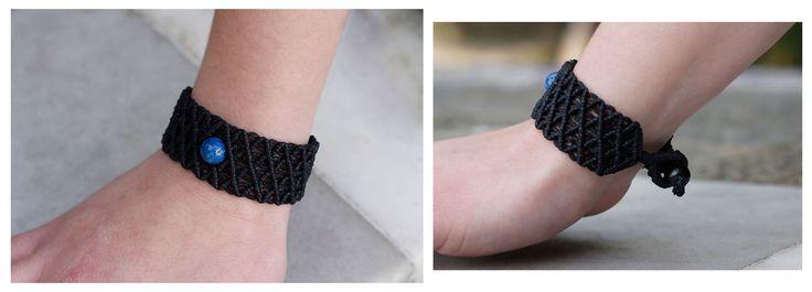 Micro macrame bracelet, made of black waxed cord and blue jade bead...