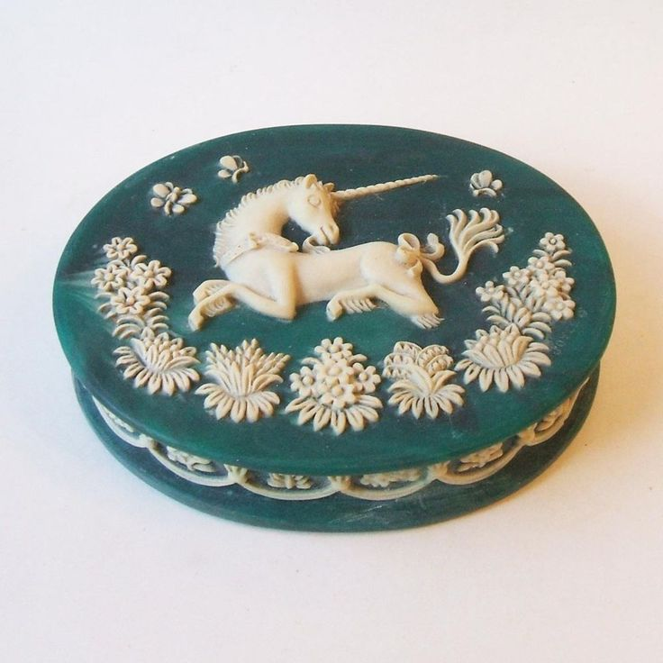 Vintage Genuine Incolay Stone Happy Unicorn Teal Jewelry Trinket Oval Hinged Box