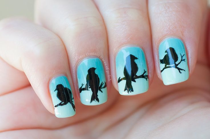Winsome Blue Base Ombre Bird Silhouette Nail Art Design
