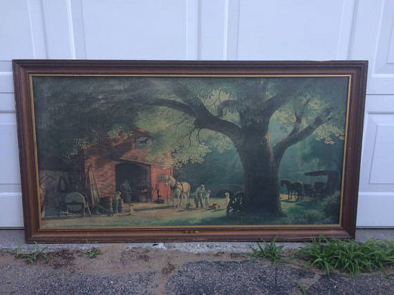 Vintage Large framed Paul Detlefsen The Smithy by