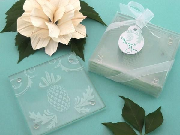"""""""Warm Welcome"""" Tropical Pineapple Glass Coasters (Set of 4)  **LIMITED STOCK**"""