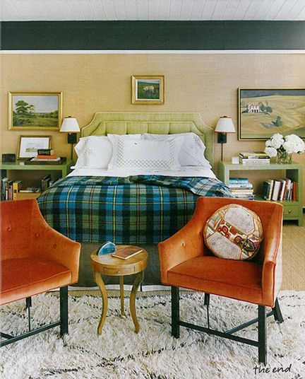 Grasscloth Wallpaper, Green Upholstered Headboard, Green