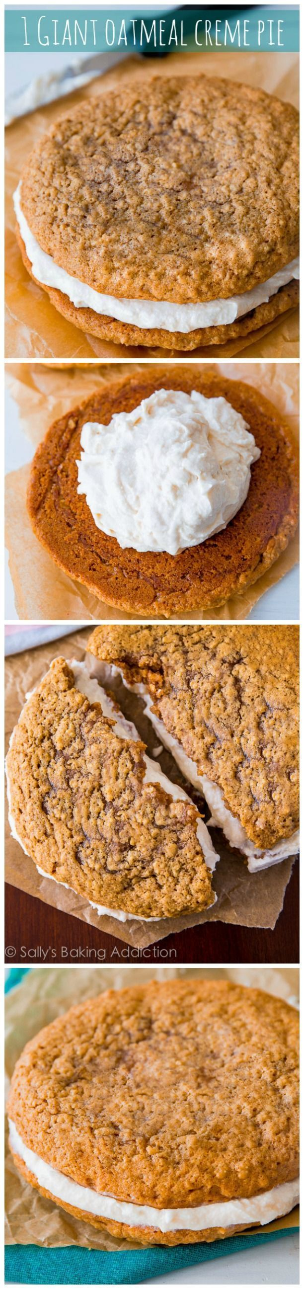 This simple recipe makes 1 Giant Oatmeal Creme Pie – like an old-fashioned Little Debbie, but bigger and better!
