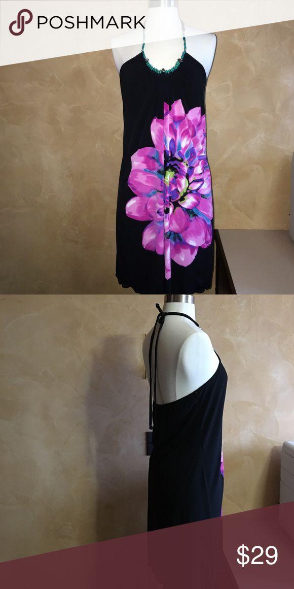 Black halter sundress Black jelewed halter dress with fuschia flower print. Only worn once! Dresses Mini