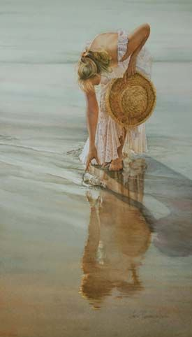 Message in a Bottle - Young woman in white creamy dress with hat at the beach finding a mysterious gift from the ocean - I want to send a message in a bottle and then receive an answer