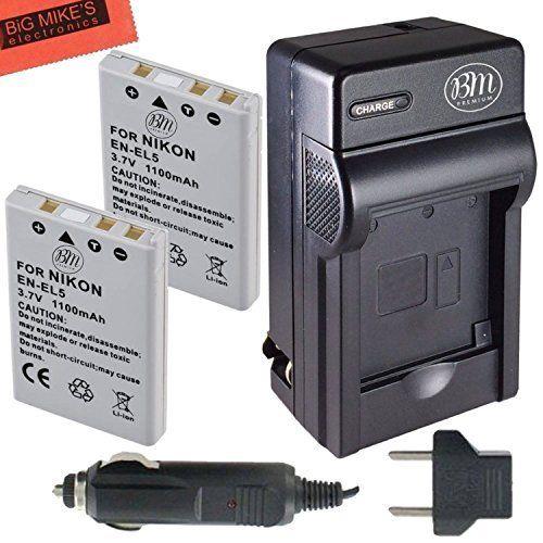 BM Premium 2-Pack of EN-EL5 Batteries and Battery Charger for Nikon Coolpix P80, P90, P100, P500, P510, P520, P530 Digital Camera