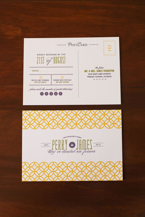yellow and white wedding invitations // photo and invites by Renee Nicole Design + Photography // styling by One Stone Events // view more: http://ruffledblog.com/time-travelers-wife-wedding-ideas/
