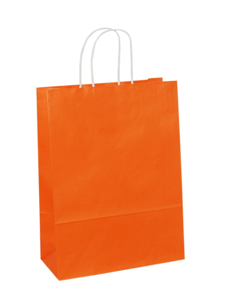 White Carrier Bag Twisted Handle - Solid Orange