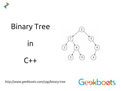 #BinaryTree is a fundamental data structure used in computer science. It is a useful data structure for rapidly storing sorted data and rapidly retrieving stored data. It is characterized by the fact that any node can have at most two branches, there have no node with degree greater than two in Binary Tree. #cpp http://blog.geekboots.com/2015/03/binary-tree-in-c-plus-plus.html
