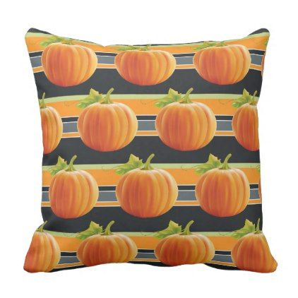 Happy Fall Yall Pumpkins On Fun Stripes Pattern Throw Pillow - elegant gifts gift ideas custom presents