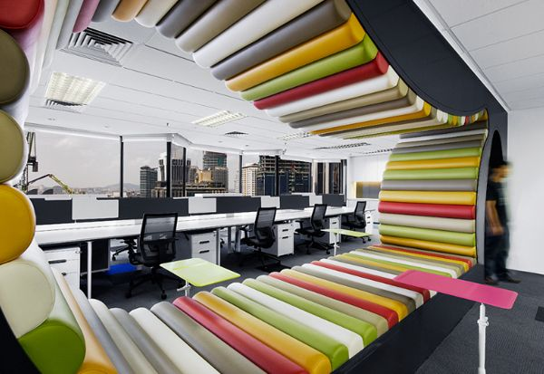 Open office. Look through room separators like this can be installed in several parts of office to be as a dividing element between teams and at the same time being a uniting element to have a quick discussion or a rest.