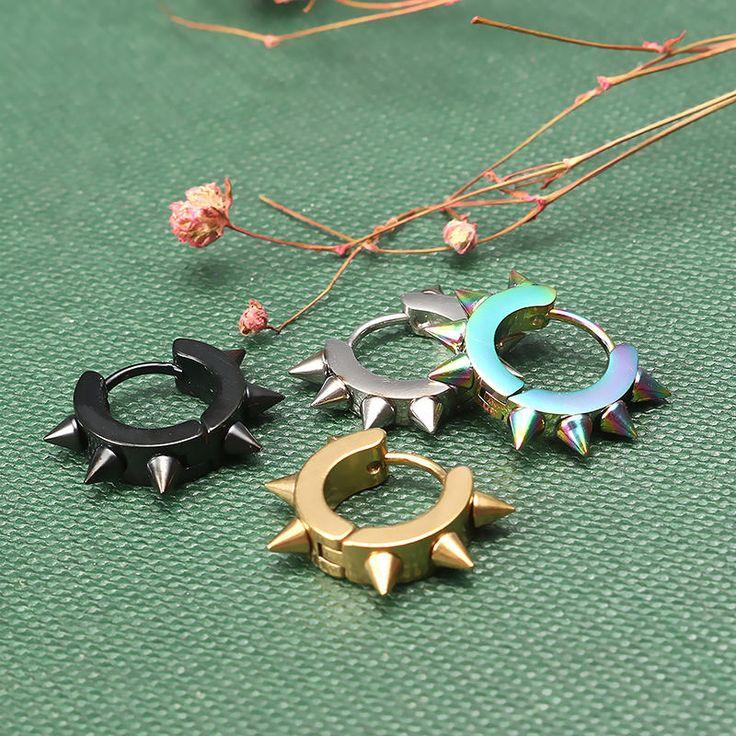 Rivets Hedgehog Punk Rock Titanium Steel Unisex Earring for Men Women at Banggood  #women #men #fashion #jewelry #watches