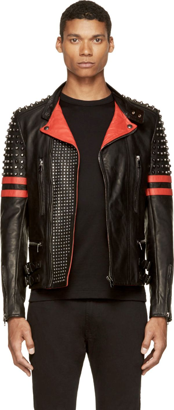 Diesel Black Gold: Black & Red Leather Studded Likol Biker Jacket